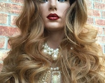 """Faith Brown Ombre 22"""" Human Hair Blend Wig Lace Front"""