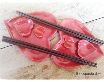 Sushi set Love handbuild pottery ceramic