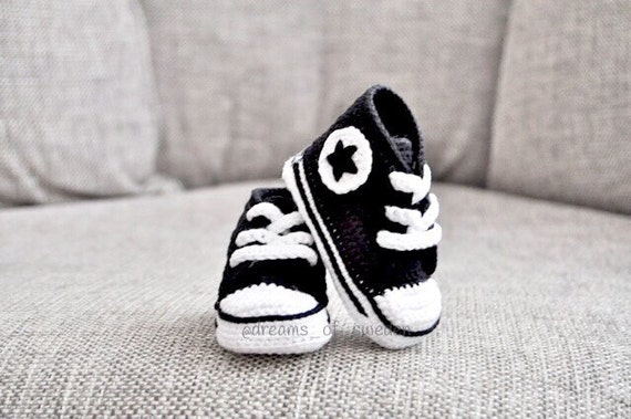 crochet baby shoes black newborn baby converse by minizarini