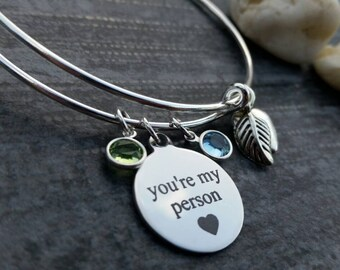 personalized friend gift, youre my person bracelet, birthstone, best friend bracelet, personalized bracelet, friendship bracelet, wife gift