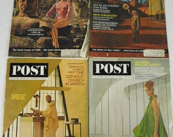 Saturday Evening Post 1964 Lot of 4 Mid Century Modern JFK Disney Catholic Church Russia Vintage Ads Articles