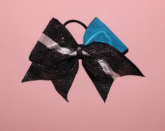 Blue Black and Silver Cheerleading Bow