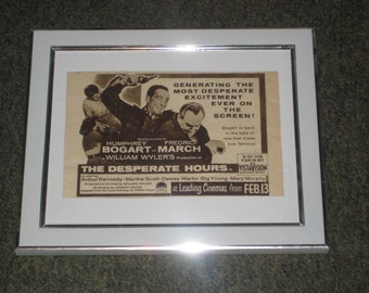 "50's Movie advert-framed Humphrey Bogart ""The Desperate Hours"""