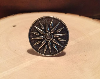 Vintage Star Ring Starburst Sun Sunburst Statement Ring Boho Hippie Gypsy Sterling Silver Ring 925