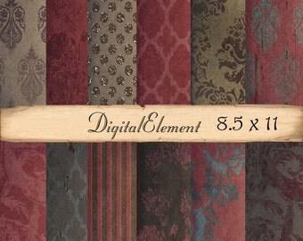 Digital Scrapbook Paper, Digital Background Paper, Red and Brown Digital Paper, 8.5 x 11 Paper Pack, Red Digital Paper. No.V3.8.DA