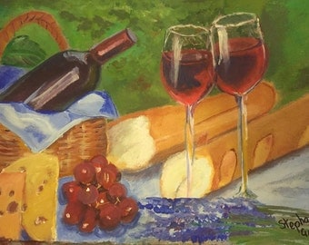 Cheese, bread and wine