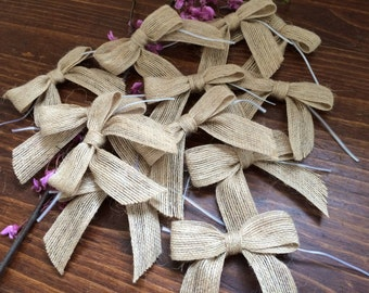 12 Pre-tied Jute Bow - burlap bow - wired plastic tie - DIY wedding - 12 count - HIBOW264