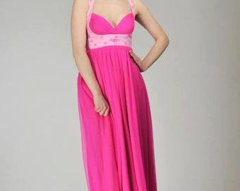 Kézzel festett pink maxi ruha