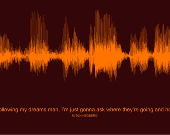 Mitch Hedberg Following Dreams - Waveform Art