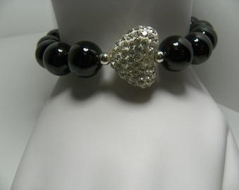 Black Onyx 12mm Beaded Crystal Heart Bracelet