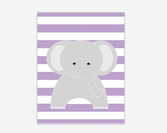 Elephant Baby Girl Nursery Canvas Wall Art Purple Lavender Gray Prints Baby Boy Girl Nursery Decor Safari Jungle Zoo Animals New Baby Gift