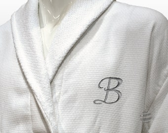Luxury Men Bathrobe With Silver Monogram and Name Personalized - Wedding Groomsmen Gift - Waffle / Terry White