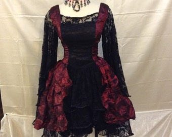 Renaissance/gothic inspired corseted short dress