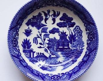 Vintage Blue Willow Transferware Fruit Bowl Made in Japan