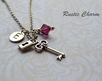Personalized Bithstone Crtystal and Ititial Key and Lock Charm Necklace