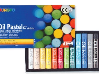 Mungyo oil pastels set of 12 Colors for artists whit Round type