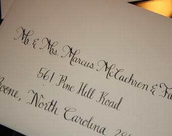 Hand addressed wedding invitation