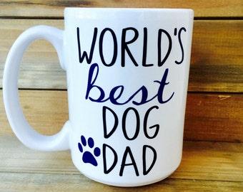 World's Best Dog Dad Mug||Dog Lover Mug||Personal Coffee Mug||Blue and Black Mug|| Dad Mug