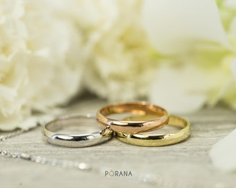 Wedding Band ring in 14K solid gold, 3.3mm wide, stacking ring