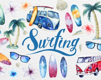 Watercolor surfing.  Digital Clip art collection. Individual PNG files. Hand Painted rustic DIY.