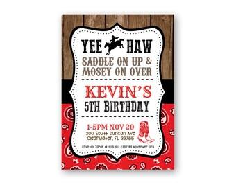 Cowboy Theme Birthday Invitation - Country Birthday Invitation - Rodeo Birthday - Yee Haw