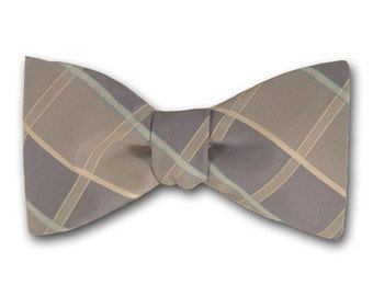 """Plaid Bow Tie """"Draco"""" - Silk Pre Tied and Free Style Bow Tie - Hand Made in USA"""