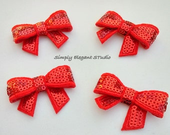 Red Sequin Bows,  5 Small Shiny Bows, Headband Bows, DIY Supply Bows, Baby Bows, Wholesale Bows