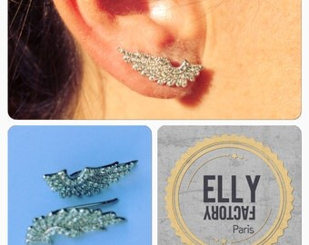 Ear cuff earrings trend - silver & rhinestones