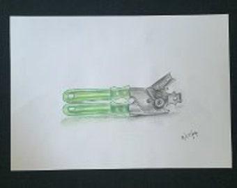 Drawing - Green Peeler