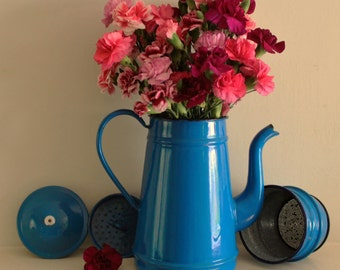 Vintage Tall Blue Clasic French Enamel Coffee Pot