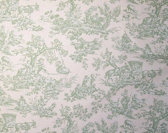 Nursery Children Pastimes color Green, Toile Printed Decorative Fabric