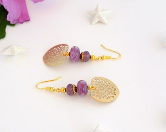 Collection loving purple and gold earrings
