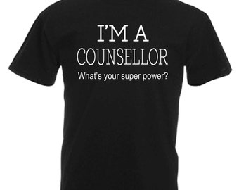 Counsellor Adults Mens Black T Shirt Sizes From Small - 3XL