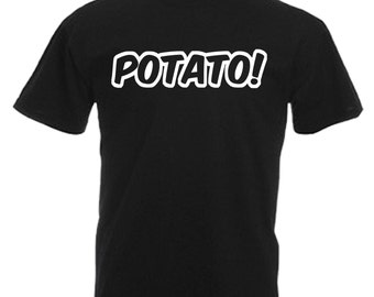 Potato Adults Black T Shirt Sizes From Small - 3XL