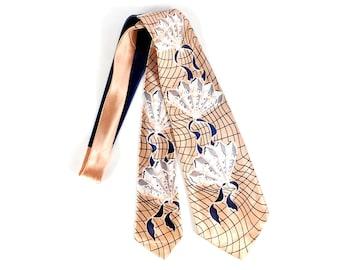 Vintage 40s Necktie - 40s Wide Tie - Wide Satin Tie - Peach Blue - 40s Swing Tie - 40s Cravat - Fatty - Fan Print Tie - Novelty Print Tie