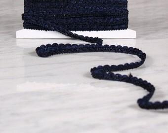 5 m Ribbon 10mm, viscose/polyamide, black and Navy (0033)