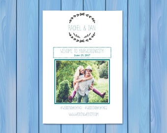 Wedding Weekend Itinerary Template with photo 8.5 x 11 half fold