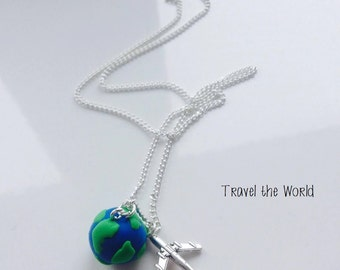 Travel The World Aeroplane Blue Green Globe Earth Necklace For Travel Lovers 18 Inches