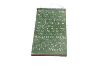 No Soliciting Sign - Painted Wood Sign - Made To Order - No Solicitation Sign - Wedding Gift - Housewarming Gift - Outdoor Decor