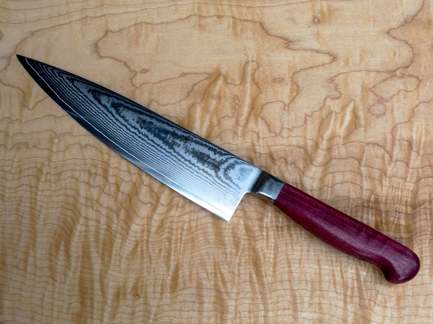 chef 39 s knife damascus steel purpleheart. Black Bedroom Furniture Sets. Home Design Ideas