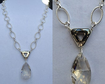 Swarovski Crystal Teardrop and Rondelle Necklace