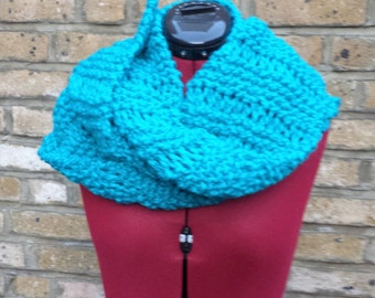 Hand Made knitted scarf blue