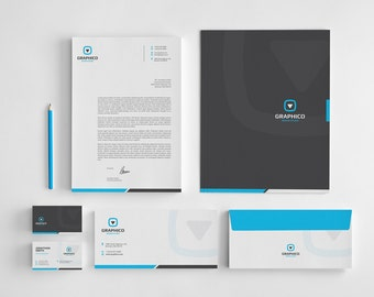 Corporate Stationery Design Template - Business Card, Letterhead, Envelope, Folder - AI, EPS, PSD, Docx, pdf - Instant Download - v1