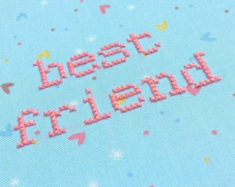 """Best Friend KIT or GIFT embroidery 6"""" hanging mental health charity awareness diy gift cross stitch kit pink birthday girl friendship bezzo"""