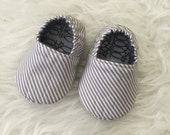 Soft Sole Shoes 3-6 Months - Classic Gray and White Stripe - Ready to Ship