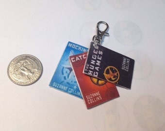 Hunger Games book cover keychain-polymer clay keychain