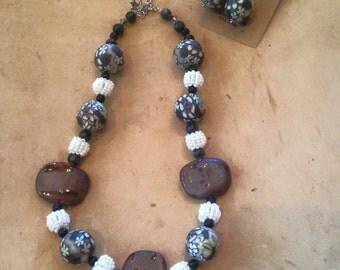 Beaded Flower Necklace Earrings Set