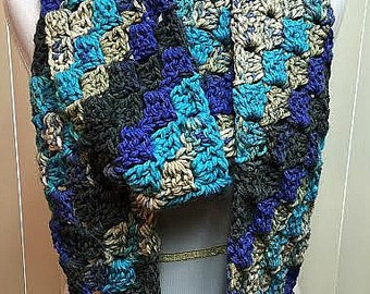 Crochet Scarf, Infinity Scarf, Chunky Scarf, Blue Scarf, Winter Scarf, Knit Scarf, Scarf, Circle Scarf, Blue Infinity Scarf, Chunky Cowl
