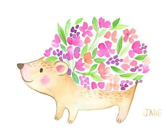 Floral Hedgehog Original Art - Woodland Watercolor Painting - 5 x 7 - Baby Nursery Art