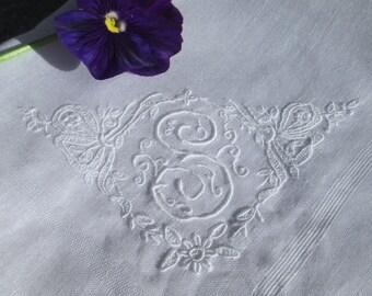 LETTER S MONOGRAM Swiss wedding handkerchief,  white vintage bridal hankie / Edelweiss design / Bride, bridal gift